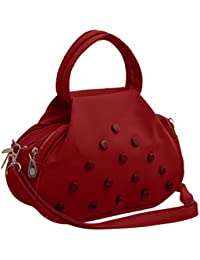 TAP FASHION Fancy Stylish Elegant Women's Cross Body Sling Bag With French Studs (Red And Maroon, WSB-4520-25-AB)