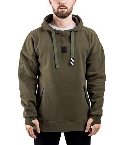 Blackskies Evoke Multifunctional Hombres Hoodie | Larga Streetwear Vellón Suéter Oversize Jersey Sweatshirt Kapuze - Verde Large L