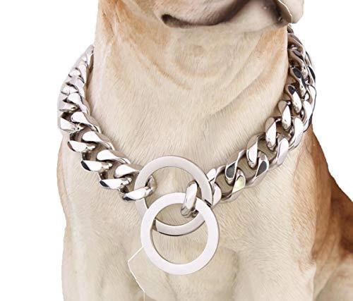 ZYLL Klassische Halsbänder Starke Edelstahl Kette 15MM Kragen Geeignet Für Große Hunde Und Hundehalsketten,20INCH