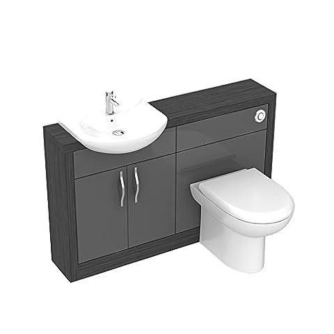 Bathroom City - Luxury Designer All-in-One Hacienda Wood Effect Vanity Unit with Basin, Tap, Toilet WC, Double-Door Cabinet Cupboard + Waste Set for Bathroom or Ensuite - W1200mm H830mm D250mm