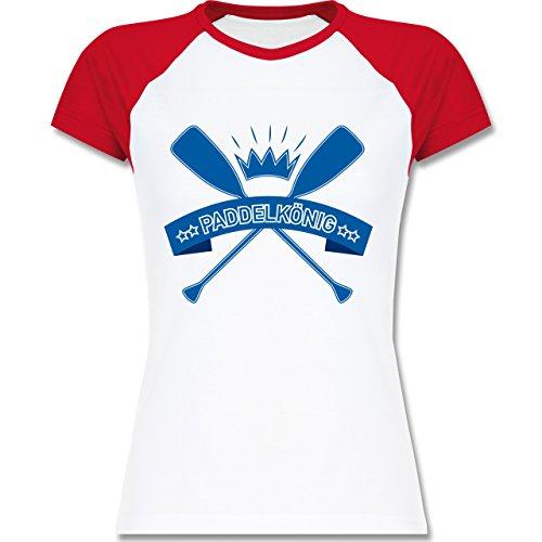 Wassersport - Paddelkönig - zweifarbiges Baseballshirt / Raglan T-Shirt für Damen Weiß/Rot