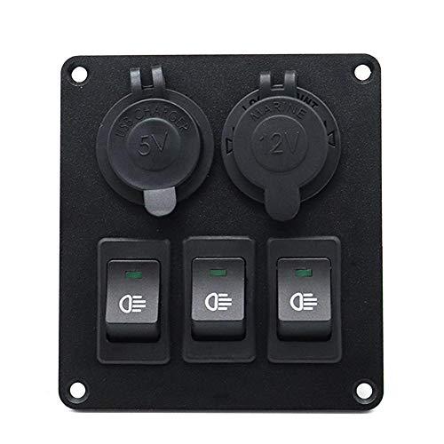 Everpert - Panel de Interruptor basculante con Enchufe de alimentación 3,4A, Doble...