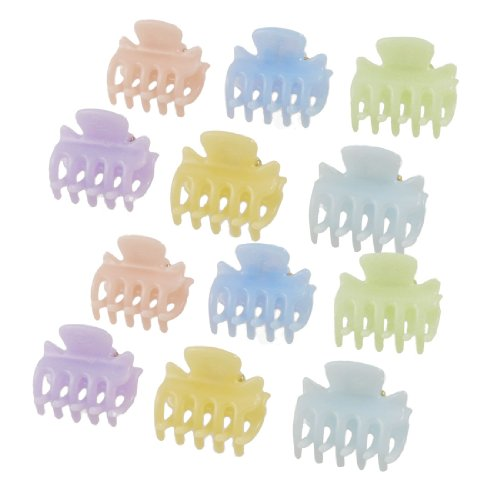 "sourcingmap 12 Pcs 1.1\ Lang Kunststoff Mini Haarklammer 10 Claws Haar Clip Orange Blau"" DE"
