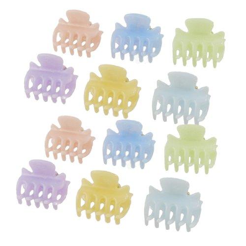 sourcingmap 12 Pcs 2.8cm Long Plastique Mini Épingle À Cheveux 10 Griffes Pince Cheveux Pince Orange Bleu