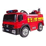 PLAY4FUN Camion de Pompier Electrique Rouge 35W pour Enfant avec Casque, Lance et Extincteur,...