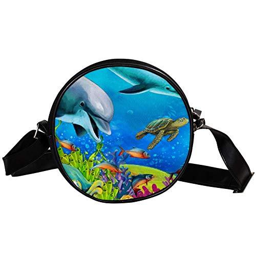 TIZORAX The Coral Reef Kleine runde Umhängetasche Handtasche für Damen und Mädchen -