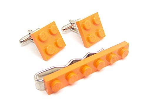 LEGO véritable Orange plaque Pince à cravate et boutons de manchette - Funky rétro Cool Boutons de manchette fabriqué par Jeff Jeffers