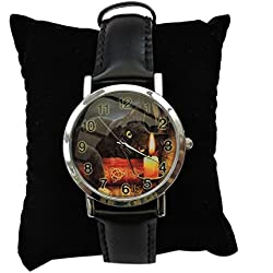 Witching Hour - Cat and candle wrist watch by Lisa Parker
