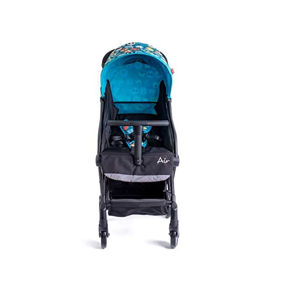 Famillidoo Air Stroller, Compact and Lightweight Pushchair, Suitable from Birth, Panda Blue Familidoo Lightweight only 5.2kg, super-compact buggy, including an easy to operate one-handed fold Detachable T-Bar for added safety and practicality. Good size 3-panel sun canopy Stylish aluminium frame with front and rear wheel suspension 7