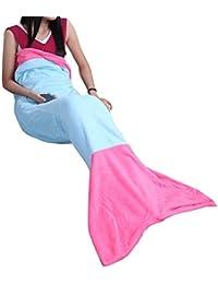 42e537c677a5 inlzdz Sirène Couverture Queue de Sirène Couverture pour Enfants Fille  Femme Adult Plaid Blanket Sac de