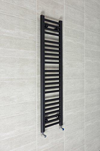 300mm Breit x 1200mm Hoch Beheizt Handtuchhalter Gerade Flach Schwarz Badezimmer Wärmer Kühler Ständer Zentralheizung (Handtuchhalter Flache Schwarze)