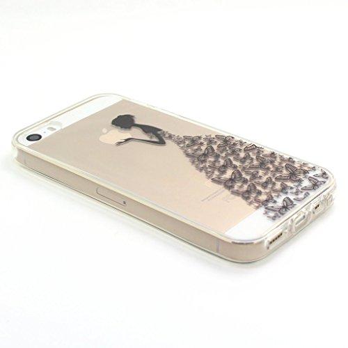 Custodia iPhone 5S / 5 / SE ,JIENI Cover fantasia ragazza Silicone Trasparente TPU Flessibile Sottile Protezione Bumper Case per Apple iPhone 5S / 5 / SE WM2
