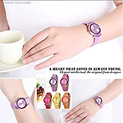 Beautiful Watches , SKONE® Fashion Exquisite Wrist Watches Candy Colored PU Leather Strap Watches Rhinestone Quartz Watch for Girls 9 Colors