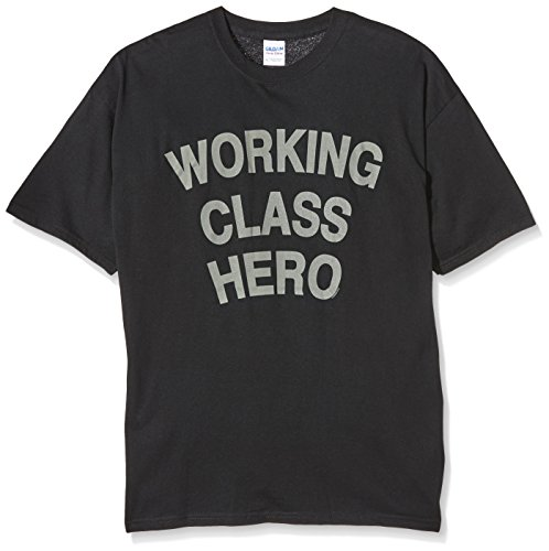 Loudclothing Herren T-Shirt John Lennon-Working Class Hero Nero (Schwarz)