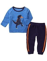 bcc1662f2039 Baoyl Cotone a Maniche Lunghe Halloween Pigiama Set Dinosauro Stampato  Morbido Pigiama, Abbigliamento Sportivo Baby