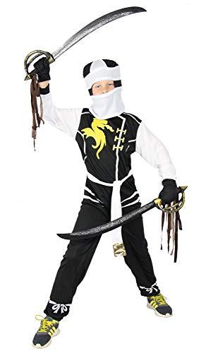 Ninjago Zane Kostüm - Foxxeo Weißes Drachen Ninja Kostüm für Jungen schwarzes Ninjakostüm Kinderkostüm Größe 122-128