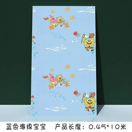 Wasserdichte Pvc Selbstklebende Tapete Schlafzimmer Wohnzimmer Dekoration Schlafsaal Tapete Möbel Hintergrund Wand Renovierung Aufkleber 0,45 M X 10 M Blaue SpongeBob SquarePants