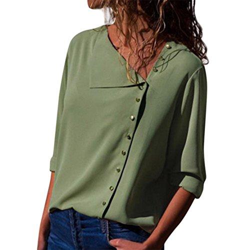 Bluestercool t-shirt casual da donna collo a risvolto  manica lunga camicetta con fibbia