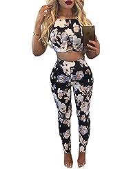 Chilsuessy Femme 2 Pièces Costume Pantalons Gilet Imprimée