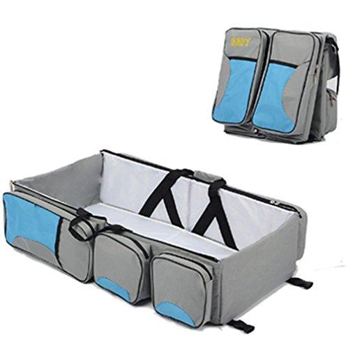 Borsone con funzione di borsa per cambio pannolini, culla portatile da viaggio e fasciatoio, adatta per neonati, con lettino portatile