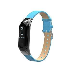 Wawer Armband für Xiaomi Mi Band 3, Ersatzarmband Armband Lederband Strap + Rahmenhülle für Xiaomi Mi Band 3