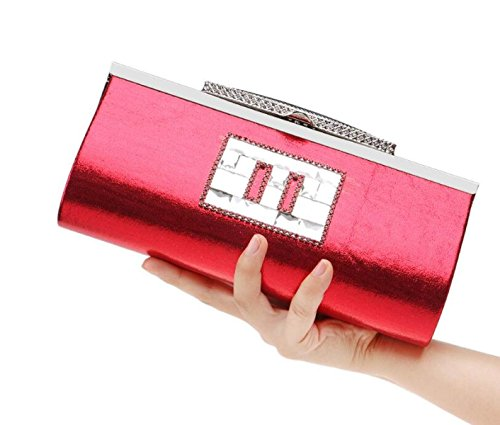 Strawberryer Diamond Evening Bag Banquet Shoulder Nightclub Lady Dinner Bag Embrayage red