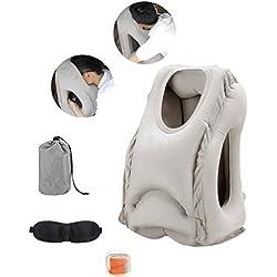FORUNER Aufblasbares Reisekissen mit Ohrstöpseln und 3D Schlafmaske Unterstützt den Kopf, Nacken und das Kinn für maximalen Komfort in Büro,Flugzeug,Auto,Bus,Zug und beim Camping