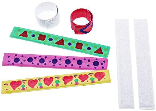 mia mai Buttons Schnapparmbänder zum Bemalen (10 Stück, Metallarmband mit Stoffüberzug) - Mitgebsel für Kinder (10 Stück)
