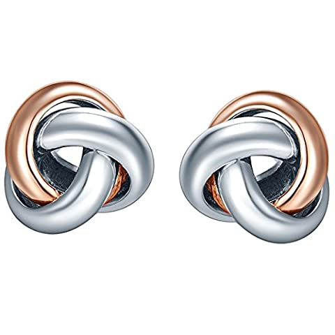 SILVERAGE Rose Gold Plated Sterling Silver Two-Tone