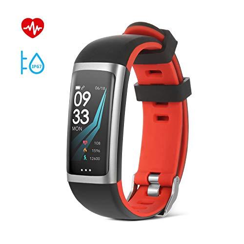 SAVFY Montre Connectée Homme/Femme Bracelet Connecté IP67 Etanche avec Ecran Couleur Fitness Tracker d'Activité Bluetooth Cardio/Podometre/Calorie/Notification/Sommeil-Rouge