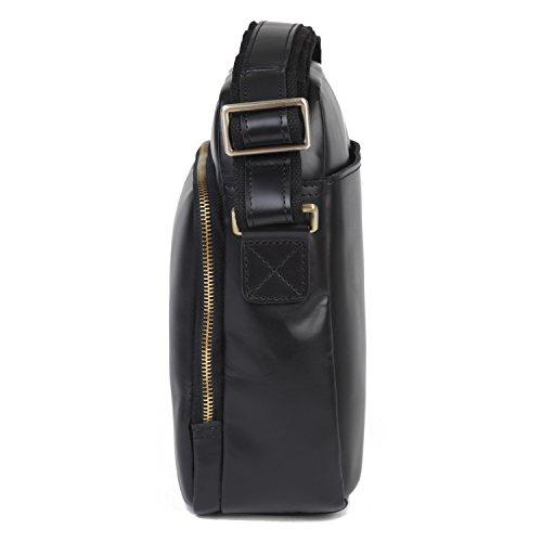 BAIGIO Herren Vintage Messenger Bags Freizeit Tasche Ledertasche Echt Leder Beruf Schultertasche Lehrertasche Unitasche Umhängetasche Praktisch Tasche Schwarz