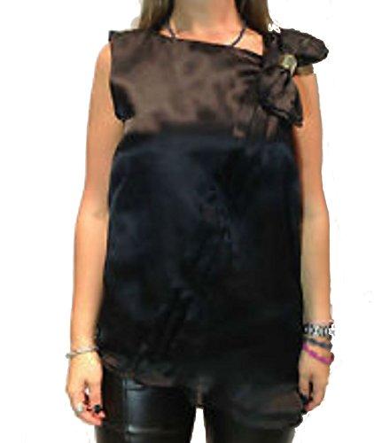 Top Donna Mangano nero modello Smoke casacchina donna con fiocco laterale