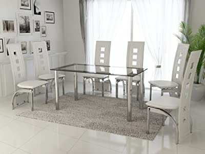 New Modern Black & Clear Glass with Chrome 6 Seat Dining Table & White Chairs Set