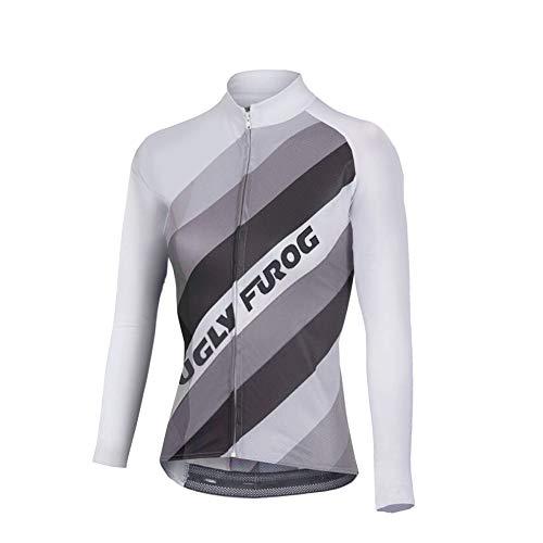 Uglyfrog Maglietta per Ciclismo, da Donna, Manica Lunga, Inverno, Termico Vello, Fringe Colore ZRWX02