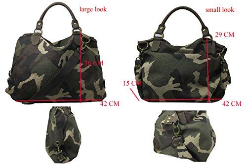 FERETI Borsa pelle militare Verde marrone camuffamento esercito army donna moda 2 in 1