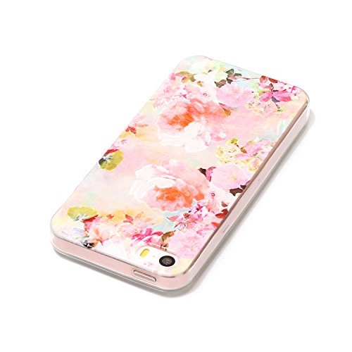 JAWSEU Coque Etui Housse pour iPhone 5/5S/SE,iPhone 5S Étui Transparent en Silicone,iPhone SE Case Tpu Bumper,Cristal Clair Soft Tpu Gel Protective Case Cover Mode Beau lovely Mignonne Joli Motif Créa Pivoine fleur/tpu