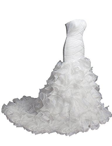 Dresstells, Forme princesse sans bretelle traîne moyenne organza robe de mariée robe à volants Blanc