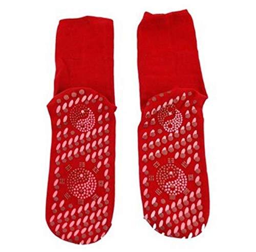 TENGGO Weit Infrarot-Selbsterhitzung Magnetische Tourmaline Massage Socken Für Füße Kalt Schwitzen Geruch-Rot
