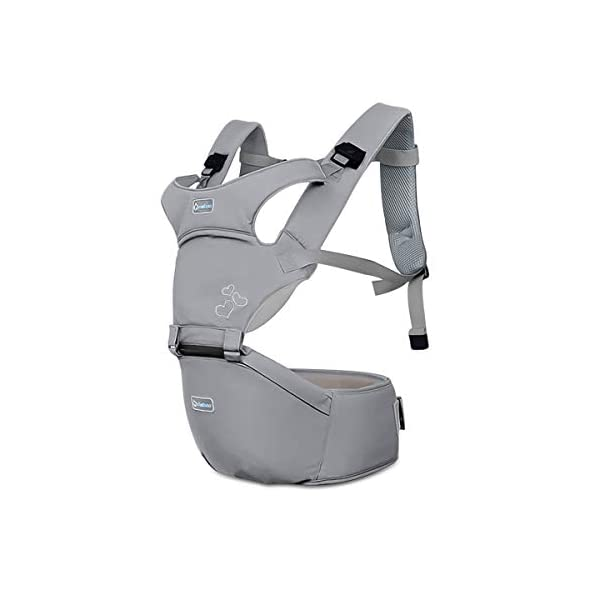 SONARIN Front Premium Hipseat Baby Carrier, Multifunctional, Ergonomic, 100% Cotton, Butterfly Rotary Buckle, 6 Carrying Positions, Adapted to Your Child's Growing,Ideal Gift(Gray) SONARIN Applicable age and Weight:3-36 months of baby, the maximum load: 20KG, and adjustable the waist size can be up to 47.2 inches (about 120cm). Material:designers choose comfortable and soft 100% cotton fabric, soft color, breathable, no irritation to the baby's skin. Baby carrier also designed anti-friction legs cushion, prevent the carrier to hurt the baby, to the baby comfortable and enjoyable. Description: patented design of the auxiliary spine micro-C structure and leg opening design, natural M-type sitting. Widen the shoulder strap and belt will be effective to disperse the baby's weight to the shoulder and waist, so that mother more effort. EPP seat core, no deformation, baby sitting more comfortable. 1