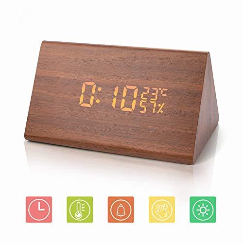 Joyshop LED Holz Digitaler Wecker USB Digitaluhr 3 Stufen einstellbare Helligkeit Voice Touch Uhrzeit/Datum/Woche/Temperatur anzeigen für Zuhause Schlafzimmer Office Kids Teens(Braun)