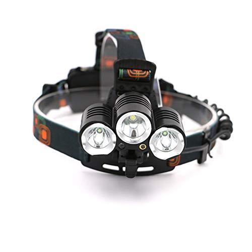 3 LED Fahrrad Stirnlampe - Hell, einstellbar, leicht, wasserdichte Taschenlampe, 4 Modi für die Jagd Radfahren Klettern Camping -