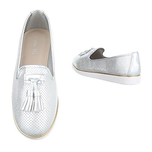 Low Damenschuhe Silber Slipper design top Ital Halbschuhe Hfwxp4q