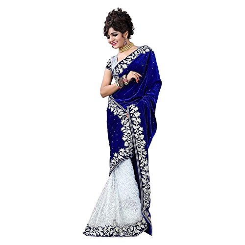 Cozer Creation Velvet And Blue Net Embroidered Saree Material  available at amazon for Rs.599