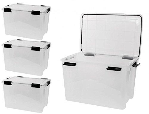 Kreher 4 Stück XL Lagerbox aus transparentem Kunststoff mit Dichtungsring im Deckel für Nässe, Staub und Schmutz. Maße ca. 39 x 59 x 29 cm. 70 Liter Volumen. TOP QUALITÄT!
