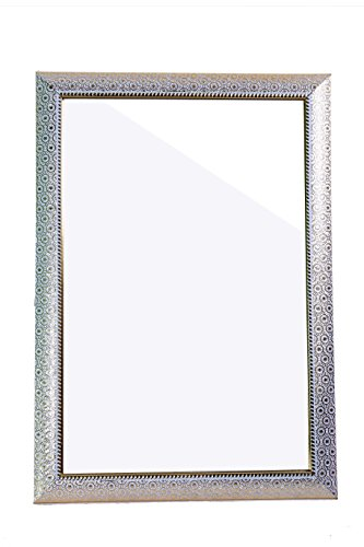 Seven Horses Fiber Wood Framed Decorative Wall Mirror Or Bathroom Mirror Silver (14X20 Inches)