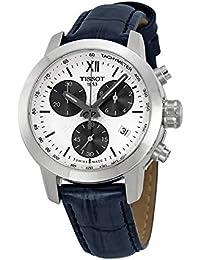 31a954bae8a80 Tissot Prc200 chronographe Cadran blanc Cuir Noir montre pour homme  T0552171603800
