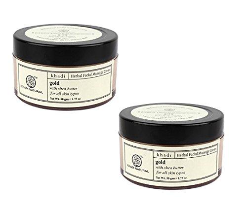 Khadi Natural Gold Face Massage Cream, 50g (Pack of 2)