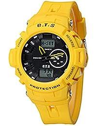 ufengke®Sport Outdoor wasserdicht Stoßfest calendar Dualzeit LED Licht Alarm Uhr Timer Licht armbanduhren für Männer Jungen-Gelb