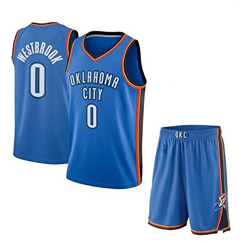 Russell Westbrook # 0 Herren Basketball Trikot - NBA Oklahoma City Thunder Swingman Sport Trikots T Shirt Anzug Blue-L