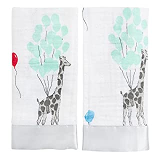 aden + anais issie security blanket, 100% cotton muslin with satin trim, 40cm X 40cm, 2 pack, dream ride